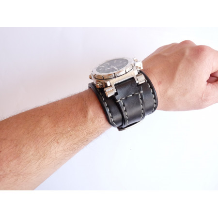 Mens Wrist Watch Leather Bracelet Steampunk Gifts For Him Military Strap Black Cuff W195