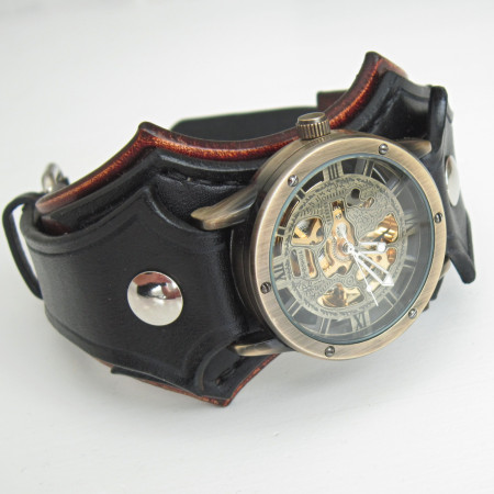 Mens Wrist Watch Bracelet Steampunk Watches Worldwide Shipping Gifts For Him Leather Cuff W327